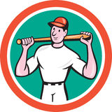 Baseball Player Holding Bat Cartoon Royalty Free Stock Images