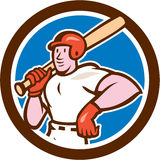 Baseball Player Holding Bat Cartoon Stock Images