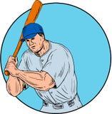 Baseball Player Holding Bat Drawing Stock Image
