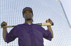 Baseball Player Holding Bat During Practice Royalty Free Stock Photo