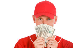Baseball: Player Holding Up Fanned Out Money Royalty Free Stock Images