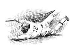 Baseball player homerun slide drawing Royalty Free Stock Images