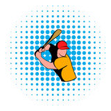 Baseball player icon, comics style Stock Images