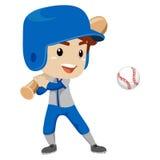 Baseball Player Kid Boy hit the Ball Stock Image