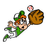 Baseball Player Kid. Making A Catch vector cartoon Royalty Free Stock Images