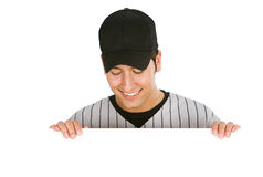 Baseball: Player Looking Down at Copyspace Stock Photo