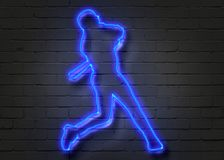 Baseball player, neon sign on brick wall. Background. 3D illustration Stock Images