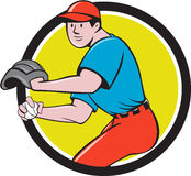 Baseball Player OutFielder Throwing Ball Circle Cartoon Royalty Free Stock Photo