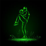 Baseball player pitcher with leg up getting ready to throw ball. neon style Stock Image