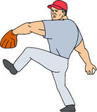 Baseball Player Pitcher Ready to Throw Ball Cartoon. Illustration of an american baseball player pitcher outfilelder ready to throw ball set on  white background Royalty Free Stock Photography