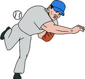 Baseball Player Pitcher Throw Ball Cartoon. Illustration of an american baseball player pitcher outfilelder throwing ball viewed from front set on isolated white Royalty Free Stock Image