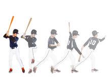 Baseball player from ready to hitting  ball , all movements Royalty Free Stock Images