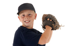 Baseball player ready to throw the ball Stock Photos