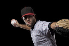 Baseball Player on a red uniform. Royalty Free Stock Photo