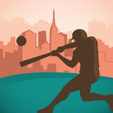 Baseball player silhouette. Baseball player silhouette with city panorama Royalty Free Stock Photography