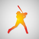 Baseball player silhouette icon with shadow in orange. Vector illustration Royalty Free Stock Images