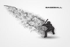 Baseball player of a silhouette from particle. Background and text on a separate layer. color can be changed in one click Stock Images