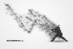 Baseball player of a silhouette from particle. Background and text on a separate layer. color can be changed in one click Stock Image