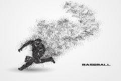 Baseball player of a silhouette from particle. Background and text on a separate layer. color can be changed in one click Royalty Free Stock Images