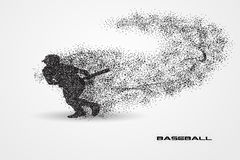 Baseball player of a silhouette from particle. Background and text on a separate layer. color can be changed in one click Stock Photos