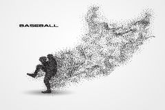 Baseball player of a silhouette from particle. Background and text on a separate layer. color can be changed in one click Royalty Free Stock Photography
