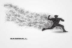 Baseball player of a silhouette from particle. Background and text on a separate layer. color can be changed in one click Stock Photo