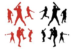 Baseball Player Silhouettes Royalty Free Stock Photography