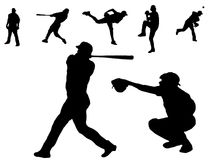Baseball player silhouettes. Seven different baseball player silhouettes isolated on a white background vector illustration