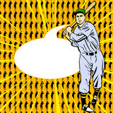Baseball Player with speech bubble Stock Photography