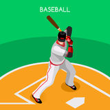 Baseball Player Sports Icon Set.3D Isometric Sport Set Baseball Championship International Competition.Sport Infographic Baseball Royalty Free Stock Image