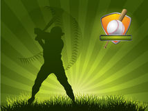 Baseball player strikes the ball. With a stick royalty free illustration