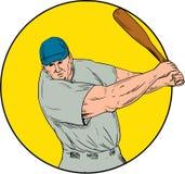 Baseball Player Swinging Bat Drawing Royalty Free Stock Photo