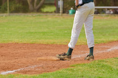 Baseball player on the third base Royalty Free Stock Photography