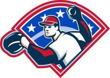 Baseball Player Throwing Ball Retro Royalty Free Stock Photos