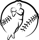 Baseball Player Throwing with Text & Stylized Ball Stock Photo