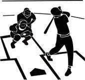 Baseball player throws to batter, strike stock illustration
