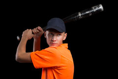 Baseball player to bat preparing to strike Royalty Free Stock Photos