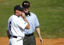Baseball player and umpire Royalty Free Stock Photography