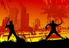 Baseball Player urban city Background stock illustration