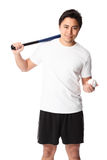 Baseball player in white t-shirt with bat. Young baseball player wearing a white t-shirt and shorts. White background Royalty Free Stock Photos