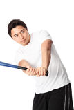 Baseball player in white t-shirt with bat. Young baseball player wearing a white t-shirt and shorts. White background Stock Photos