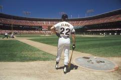 Baseball player Will Clark on base with bat. Candlestick Park, San Francisco, CA Stock Photos