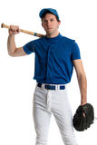 Baseball Player. Young adult baseball player. Studio shot over white Royalty Free Stock Images