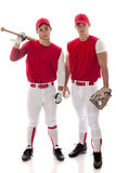Baseball Players. Two baseball teammates. Studio shot over white Stock Image