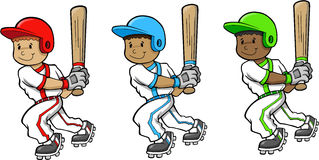 Baseball Players. Cute Baseball Players Vector Illustrations Royalty Free Stock Photos