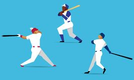 Baseball players. Characters in actions on blue background. Baseball player with bat in flat design. Vector illustration stock illustration