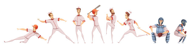 Baseball Players Colored Icons Set Stock Photography