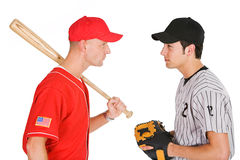 Baseball: Players From Opposing Teams Stand Eye to Eye Stock Photography
