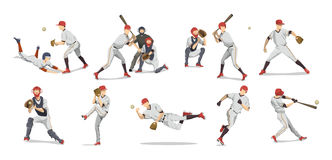 Baseball players set. Baseball players set on white background. Team sport with bat and ball stock illustration
