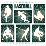 Baseball players silhouettes Stock Photos
